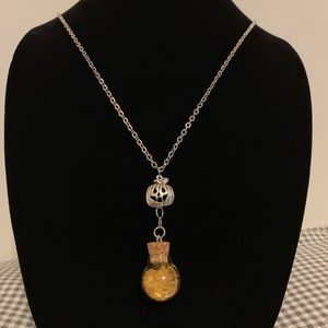 Pumpkin with Citrine Filled Glass Vial Necklace